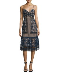 Self Portrait Sleeveless Mixed Lace Midi Dress Navy Black Nude