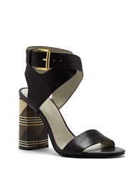 1.State Rayla Stacked Heel Strappy Sandals Black