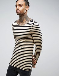 Asos Stripe Extreme Muscle Long Sleeve T Shirt With Boat Neck White