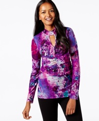 Cable And Gauge Space Dye Keyhole Top Purple Floral Print
