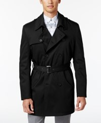 Calvin Klein Men's Slim Fit Double Breasted Belted Raincoat Black