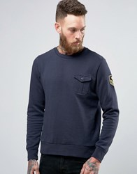 Brave Soul Military Badged Crew Neck Jersey Jumper Navy