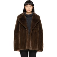 Yves Salomon Brown Rex Rabbit Fur Jacket