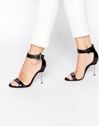 Blink Barely There Heeled Ankle Strap Sandals Blackpatent