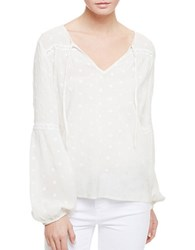 Sanctuary Tie Front Cotton Blend Peasant Top Milk