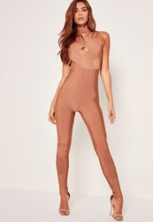 Missguided Bandage Cross Front Jumpsuit Nude Taupe
