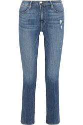 Frame Distressed High Rise Straight Leg Jeans Mid Denim