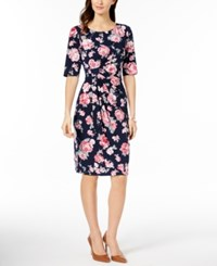 Connected Floral Print Sarong Dress Rose