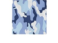 Fairfax Camouflage And Dot Silk Twill Pocket Square Blue