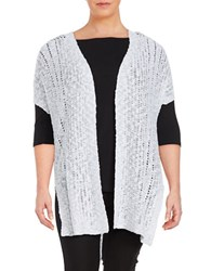 Vince Camuto Plus Long Open Front Cardigan White