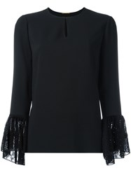 Saint Laurent Lace Cuff Long Sleeve Blouse Black