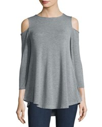 Neiman Marcus Cold Shoulder Jersey Top Light Gray