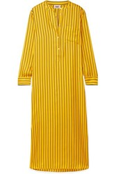 Sleepy Jones Georgia Oversized Striped Silk Satin Twill Nightdress Mustard