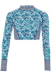 Tart Collections Paneled Printed Rash Guard Turquoise