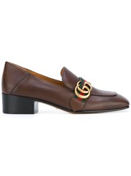 Gucci Peyton Loafers Women Calf Leather Leather 40 Brown