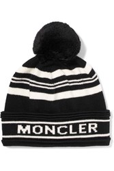 Moncler Striped Intarsia Wool Beanie Black