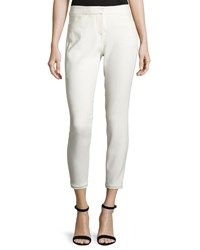 Halston Slim Leg Tapered Ankle Pants Chalk Off White