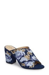 Sole Society 'S Luella Flower Embroidered Slide Navy Blue Multi Embroidery