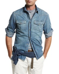 Brunello Cucinelli Western Style Button Down Denim Shirt Powder Blue Indigo