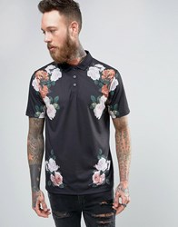Asos Polo Shirt With Floral Chest Detail Black