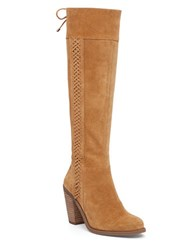 Jessica Simpson Ciarah Suede Braid Knee High Boots Tan