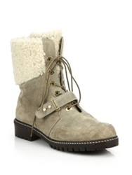 Stuart Weitzman Viking Suede And Faux Fur Lace Up Boots