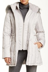 Nautica Faux Fur Trim Hooded Belted Quilt Jacket White