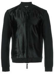 Emporio Armani Textured Bomber Jacket Black