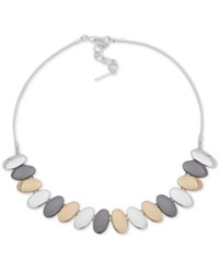Nine West Tri Tone Oval Disc Collar Necklace 16 2 Extender Multi