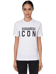 Dsquared Icon And Logo Printed Jersey T Shirt White