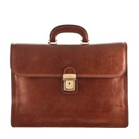 Maxwell Scott Bags Luxury Italian Leather Men's Business Briefcase Paolo Classic Chestnut Tan Brown