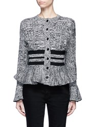 Alexander Mcqueen Mixed Cable Knit Wool Blend Peplum Cardigan Multi Colour