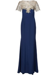 Marchesa Notte Embroidered Neck Gown Blue