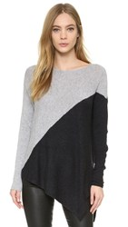 Alice Olivia Colorblocked Bias Boxy Pullover Grey Charcoal