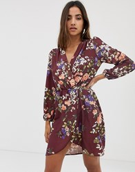 Love Long Sleeve Floral Wrap Dress Red