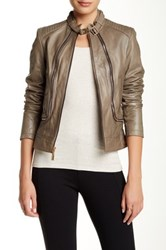 Vince Camuto Zippered Lambskin Jacket Brown