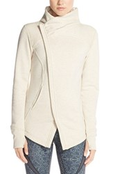 Women's Zella 'Snowdrift' Asymmetrical Zip Sweatshirt Beige Oatmeal Light Heather