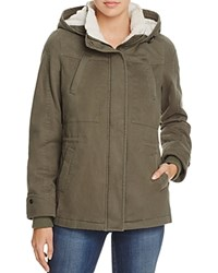 Aqua Faux Shearling Lined Anorak Army Green Natural