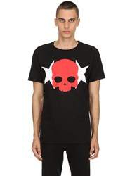 Hydrogen Skull And Stars Cotton Jersey T Shirt Black