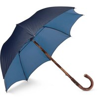 Francesco Maglia Lord Chestnut Wood Handle Two Tone Twill Umbrella Navy