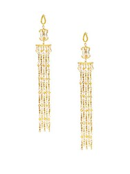 Azaara 22K Yellow Goldplated Linear Drop Earrings