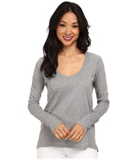 Alternative Apparel Scoop Neck T Shirt Long Sleeve Heather Grey Women's T Shirt Gray