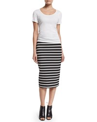 Bailey 44 Santorini Striped Pencil Skirt Black White