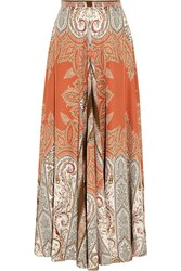 Etro Printed Silk Crepe Maxi Skirt Orange