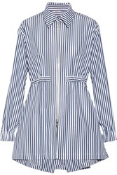 Adam By Adam Lippes Striped Cotton Poplin Shirt Navy