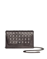 Akris Anouk Grid Stud Envelope Clutch Bag With Shoulder Chain Gray