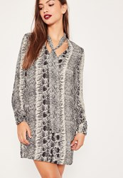 Missguided Snake Print Tie Neck Shift Dress Monochrome