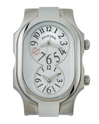 Philip Stein Teslar Rectangle Dual Time Watch Head White