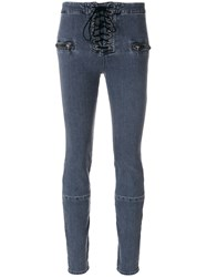 Unravel Project Lace Up Skinny Jeans Women Cotton Polyester Spandex Elastane 26 Grey