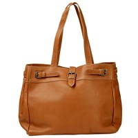 Fat Face Three Buckle Leather Tote Bag Tan